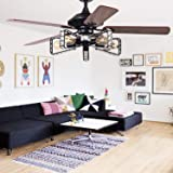 52 In Ceiling Fans with Lights Remote Control, Crystal Chandeliers Fan Lights, 52'' Large Walnut Retro Ceiling Fans…