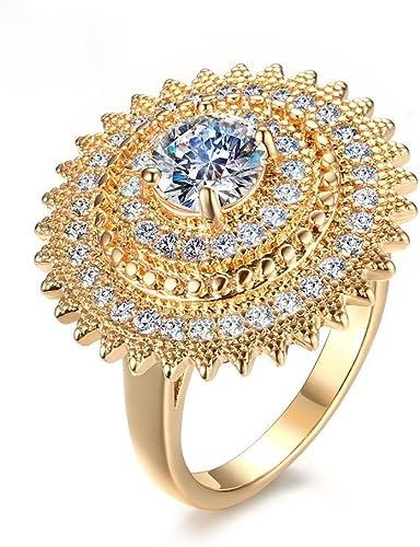 Fashion Womens white gold filled wedding Big Flower CZ Love ring size 6 7 8 9