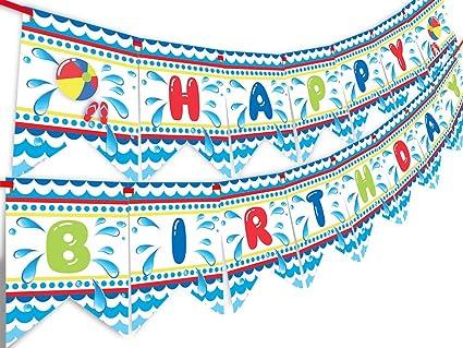Amazon.com: Pancarta de cumpleaños fiesta en la piscina ...