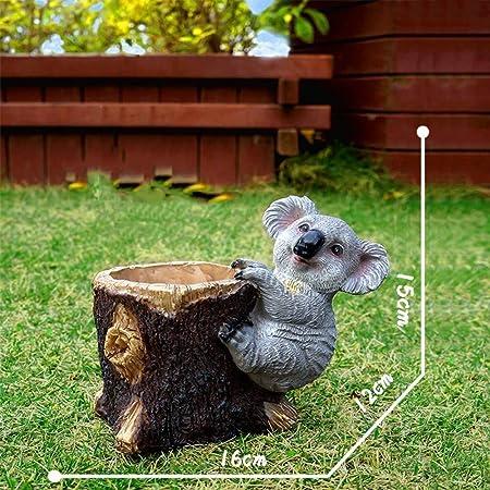 Escultura Adornos de jardín al aire libre Simulación de koala flor Cilindro de resina impermeable estatua del jardín for la yarda del césped del paisaje hace el regalo de la decoración: Amazon.es:
