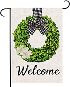 AUOIKK Welcome Garden Flag Boxwood Wreath Garden Decoration Vertical Double Sided, Farmhouse Flag Buffalo Check Plaid Rustic Yard Lawn Banner Outdoor Decoration 12.5 x 18 Inch