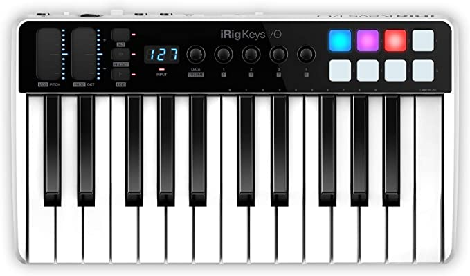 IK Multimedia iRig Keys I/O 25-Keys Midi Controller with 24-bit up to 96kHz Audio Interface for iPhone/iPad, Android and Mac/PC