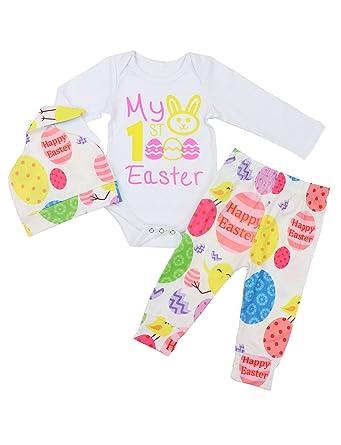 1b69ca41f Baby Girls 3PCs Sets My 1st Easter Romper Dress Long Bodysuit Headband  Outfit 0-3