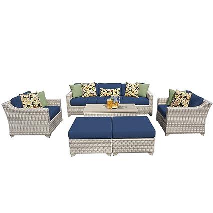 TK Classics FAIRMONT 08c NAVY 8 Piece Outdoor Wicker Patio Furniture Set,  Navy