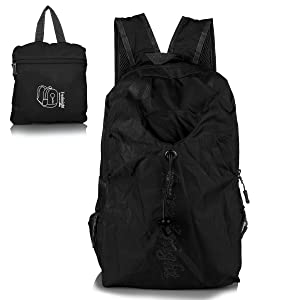Foldable Travel Duffle Bag Outdoor Sports Water Resistant Nylon nylon black, by LC Prime