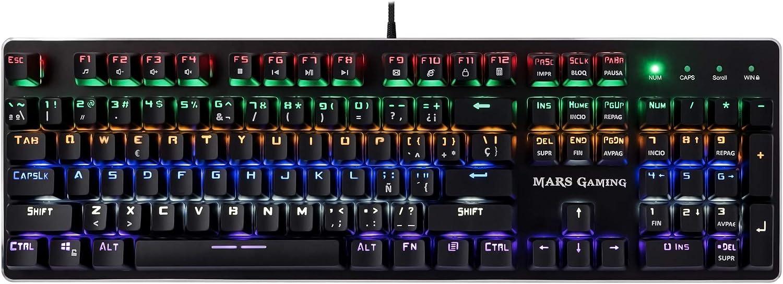 Mars Gaming MK4R - Teclado gaming para PC (Retroiluminado 6 colores, anti-ghosting, 10 perfiles luz, 6 efectos luz, Iluminación lateral RGB flow, 16 teclas control funciones, USB, Switch ROJO), negro