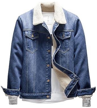 cf9ceb92cf12 LifeHe Men s Winter Fleece Fur Collar Denim Jacket Coats Light Blue (X-S