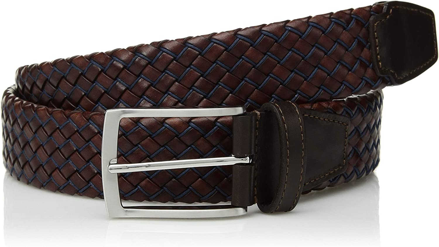 Bugatchi Mens Braided Fashion Leather Belt