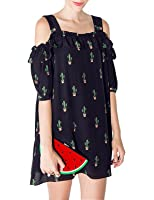 Haoduoyi Womens Cactus Print Cold Shoulder Strappy Mini Dress