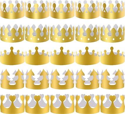 Amazon.com: SIQUK - 40 piezas de coronas de papel doradas ...