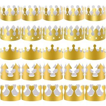 SIQUK 40 Piezas Coronas de Papel Doradas Corona de Rey Dorada para Niños y Adultos Fiesta y Celebración de Cumpleaños, 5 Estilos