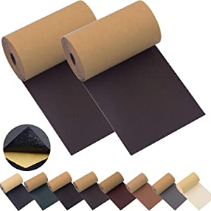 Leather Repair Patch Tape for Couches 2packs 3X55inch Self-Adhesive for Furniture Sofa Vinyl Car Seats Couch Chairs Shoes Down Jackets First Aid Patch Fix Tear Kit (Dark Brown, 3X55 inch)