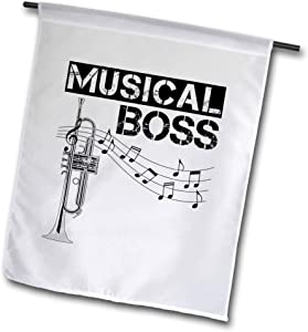 3dRose Macdonald Creative Studios – Music - Musical Boss Design with Staff and Music Notes for Any Trumpet Player - 12 x 18 inch Garden Flag (fl_300928_1)