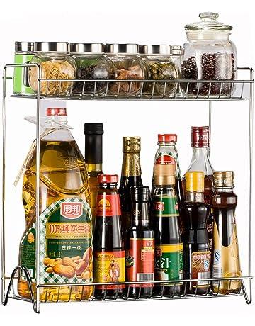 Organizador de condimentos, de Vicoki, con dos bandejas desmontables de acero inoxidable, en