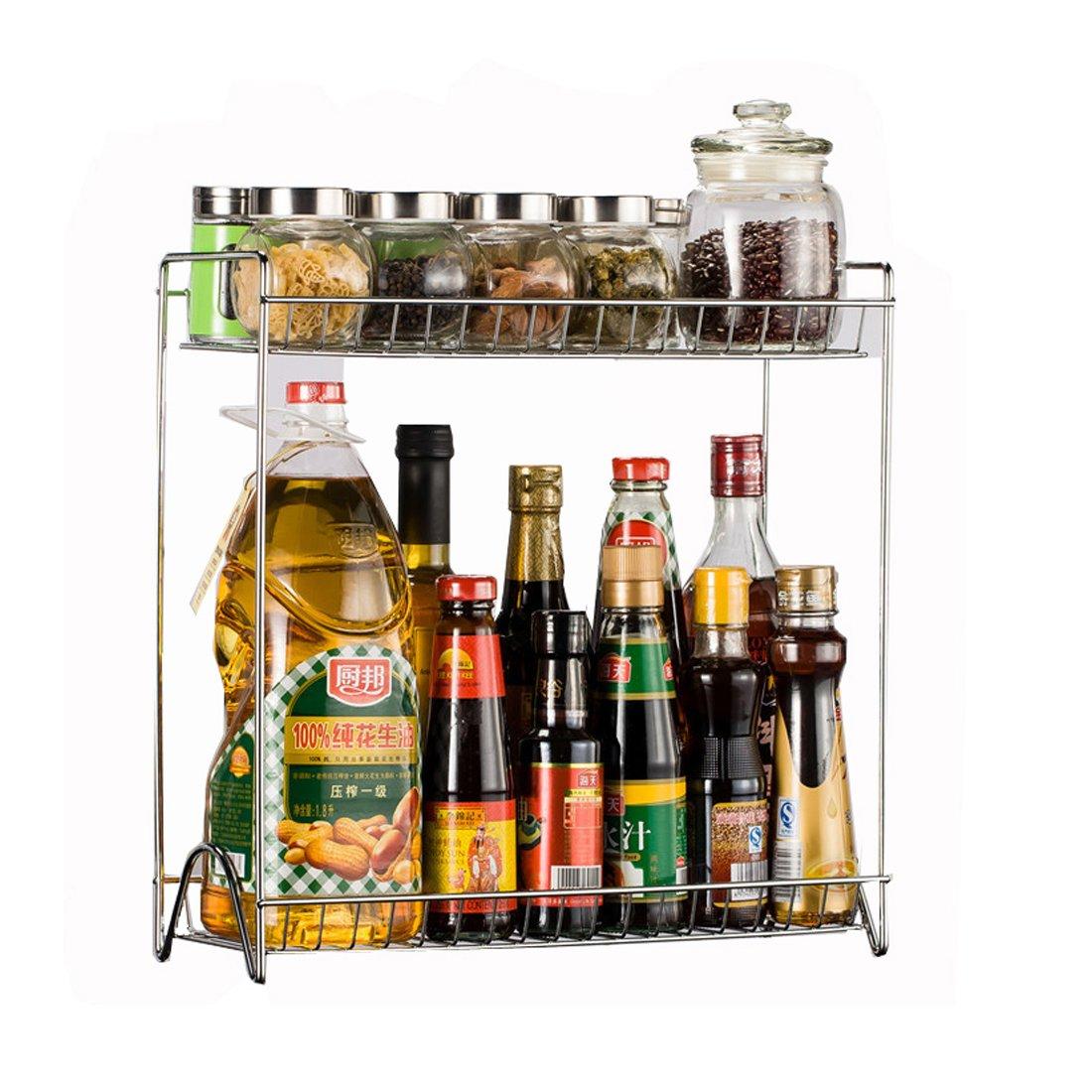 Vicoki, rastrelliera organizer con due ripiani in acciaio inox, staccabile, per condimenti in lattina, bottiglia, da usare nella cucina di casa o ristorante, colore: argento