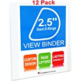 "3 Ring Binders, 2.5 Inch Slant D-Rings, White, Clear View, Pockets, 12 Pack (3.2"" Spine)"
