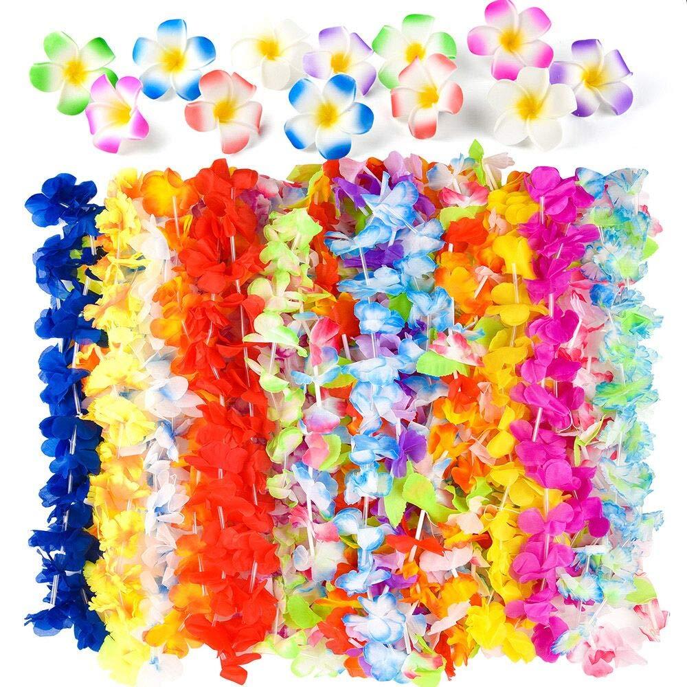 FEPITO 36 piezas Hawaiian Tropical Hula Flower Leis collares con 18 piezas Plumeria Hibiscus Flower Hair Clips para Aloha Luau Jungle Beach Moana temática fiesta de cumpleaños BBQ favorece bolsos Decoraciones Suministros