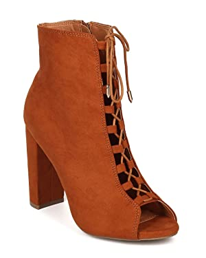 Women Faux Suede Block Heel Bootie - Peep Toe Bootie - Corset Ankle Boot - GI35 By Wild Diva - Whiskey Faux Suede (Size: 9.0)