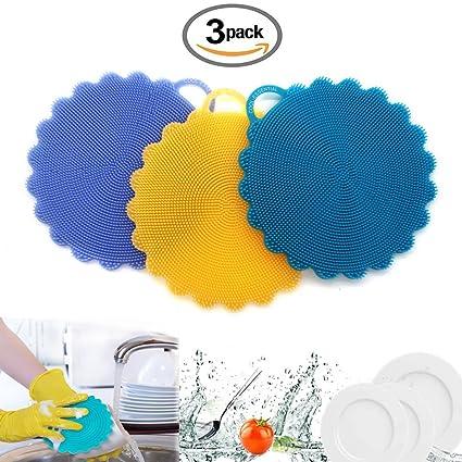Grado de comida Antibacteriano Silicona Antiadherente lavar platos Cepillo para platos Esponja Toalla Depurador Para la