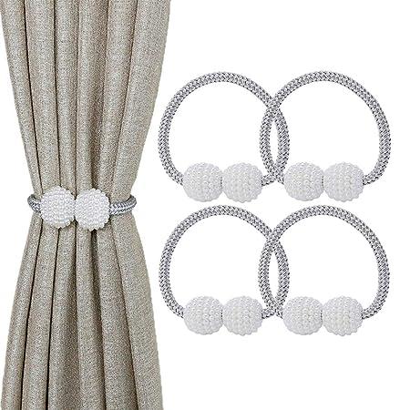 Paquete de 4 corbatas de cortina magnéticas, pequeños clips de ...