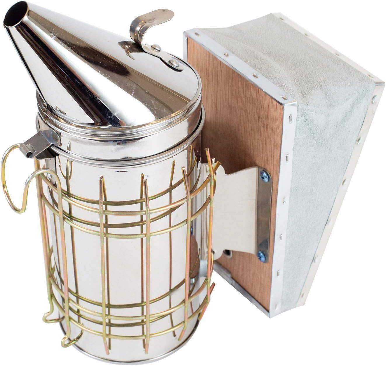 "SunVara 11"" Bee Smoker Stainless Steel with Heat Shield Beekeeping Equipment"