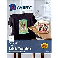 Avery 3279 Hojas de Transferencia Térmica para Tela Algodón Inkjet 21,6 x 27,9 cm, 5 Hojas, color Negro