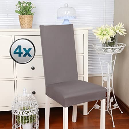 Chair Covers Stretch Cover Slipcovers 4PCS Elastic Modern Protector With Band Washable