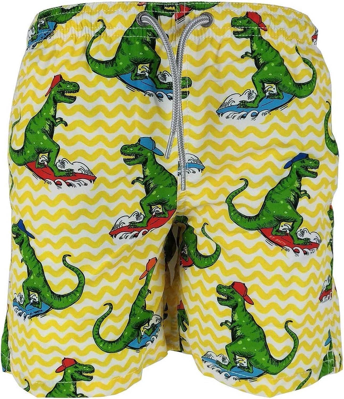 Saint Barth MC2 Costume Boxer Rigato Giallo con Stampa Dinosauri