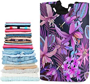 visesunny Collapsible Laundry Basket Tropical Purple Flower Palm Large Laundry Hamper with Handle Toys and Clothing Organization for Bathroom, Bedroom, Home, Dorm, Travel