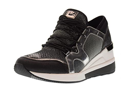ccaae3c68645b MICHAEL KORS women shoes sneakers with wedge 43F7SCFS3D SCOUT BLACK SILVER  TRAINER size 40 Black