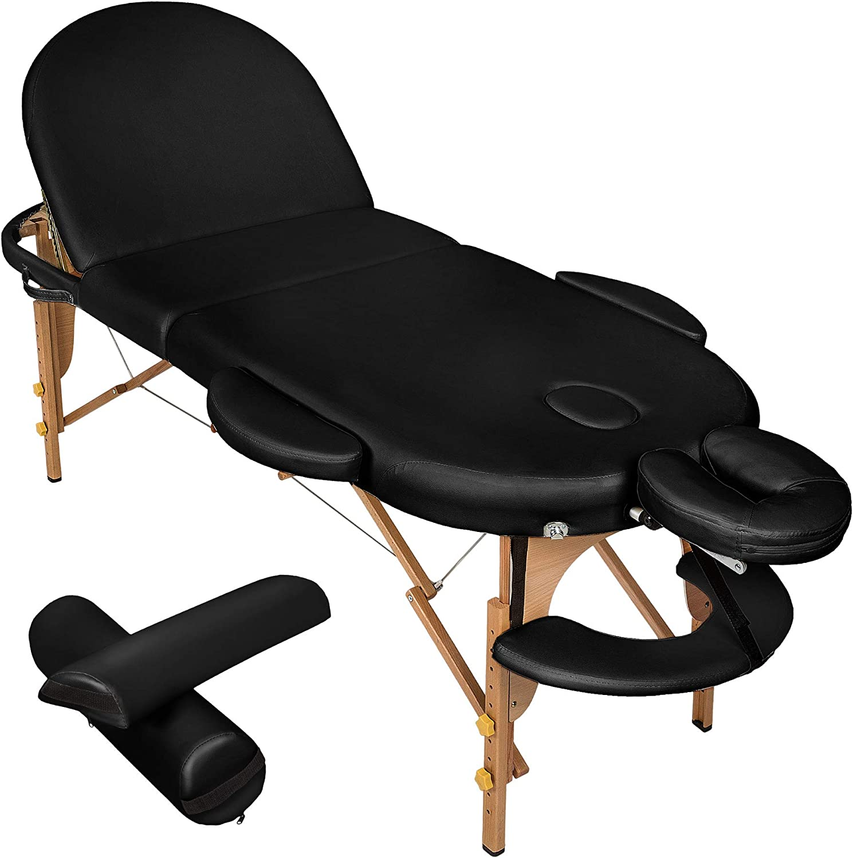 TecTake Camilla de Masaje Mesa de Masaje 3 Zonas Reiki Terapia Oval + Set (Negro | No. 400192): Amazon.es: Deportes y aire libre