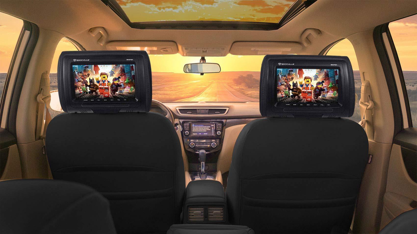 Pair Rockville RHP91-BK 9'' Plug N Play Black Car Headrest Monitors w/Speakers by Rockville