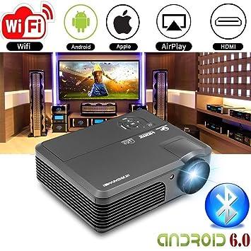 WXGA LED HD Proyector Inalámbrico Bluetooth HDMI Smart LCD Android6.0 Proyector de Video WiFi 4200 lúmenes 1080P Multimedia HDMI USB VGA AV Audio ...