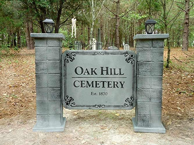 lighted oak hill cemetery 2 sided entrance sign halloween props for graveyard haunted house