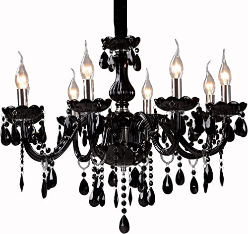 LightInTheBox Crystal Chandelier Lighting Lights Fixture Pendant Ceiling Lamp Black Shade with 8 Lights Bulb Base E12 E14 Max 40W Chain Cord Adjustable Living Room Ceiling Fixtures