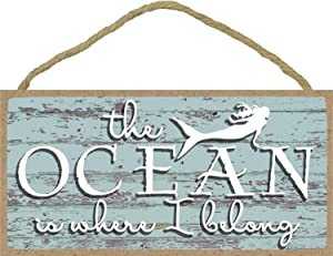 The Ocean is Where I Belong - Mermaid Sign - 5 x 10 inch Hanging, Wall Art, Decorative Wood Home Decor
