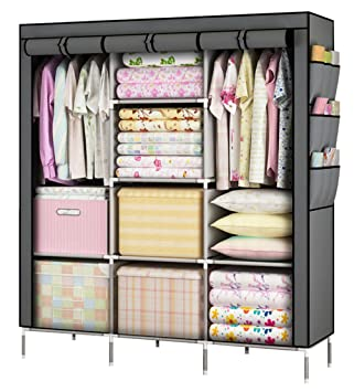 YOUUD Fashionable Clothes Closet Portable Wardrobe Storage Organizer With  Shelves Multilayer Sturady Durable Construction Stroage Cabinet