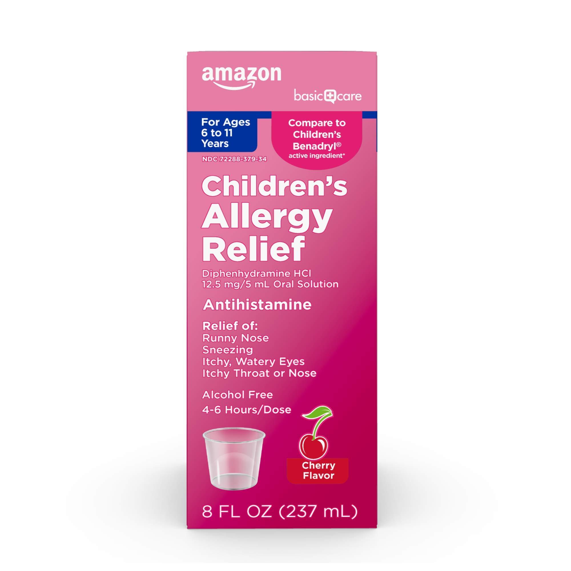 Amazon Basic Care Children's Allergy Relief, Pink, Cherry, 8 Fl Oz