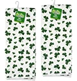 St. Patrick's Day Towels for Kitchen or Bathroom - Shamrock Towel - 3 Different Saint Patrick's Day Designs - Each Sold As Set Of 2 (White Shamrocks Towels)