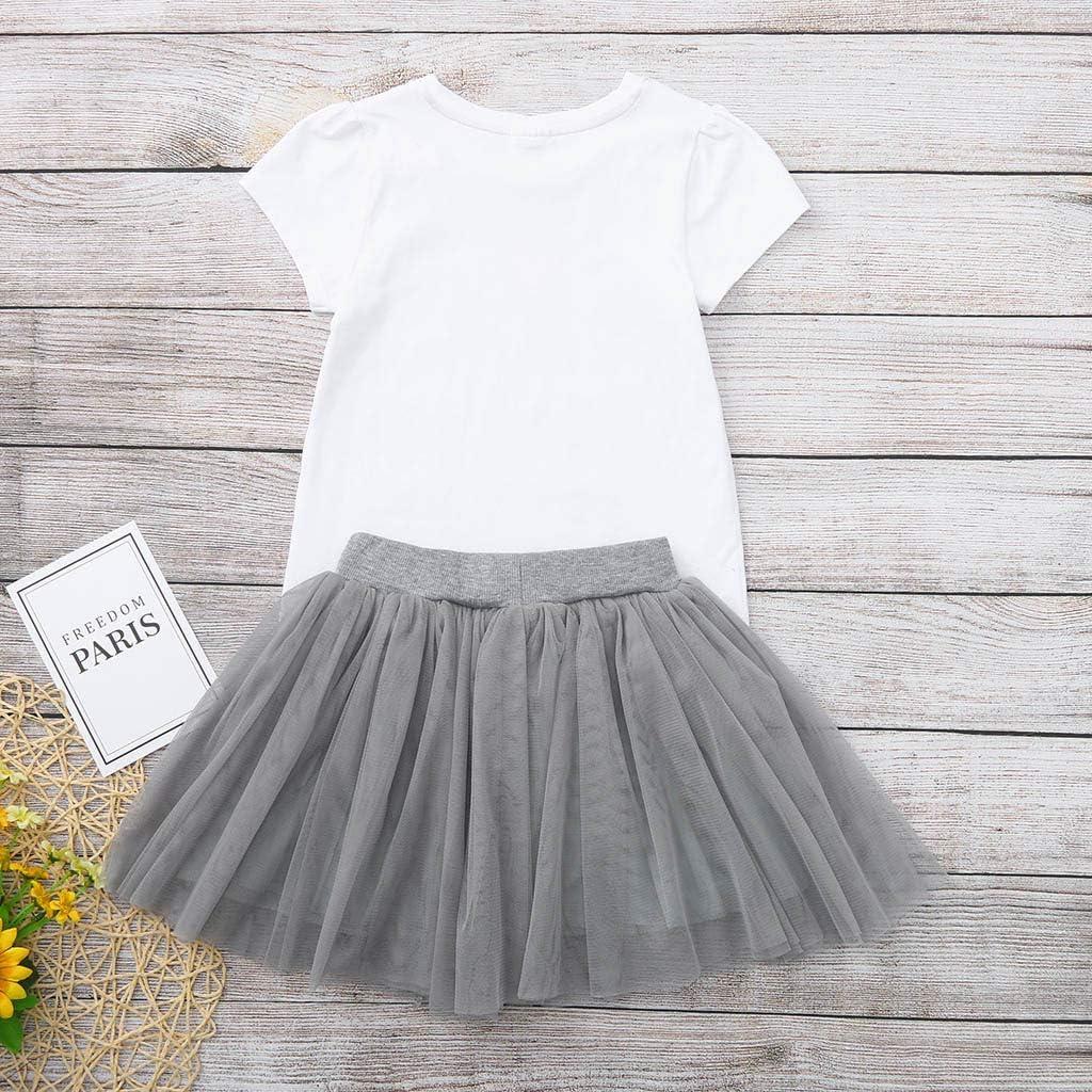 Toddler Kids Baby Girls Outfits Princess Short Sleeve Top T Shirt Tutu Skirt 2pcs Summer Clothes Set