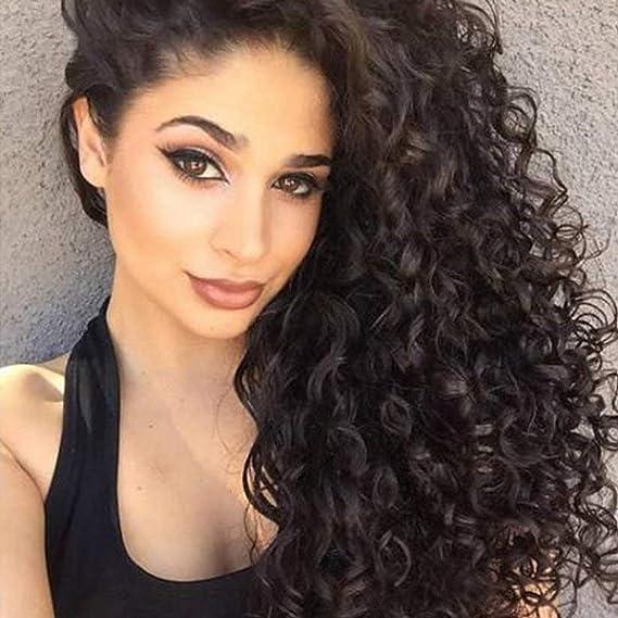REAMIC Kinky Curly Black Wigs Pelucas Afro de Encaje Sintético con Cabello de Bebé Pelucas de Cabello Resistentes al calor para Mujeres Negras (Negro, ...
