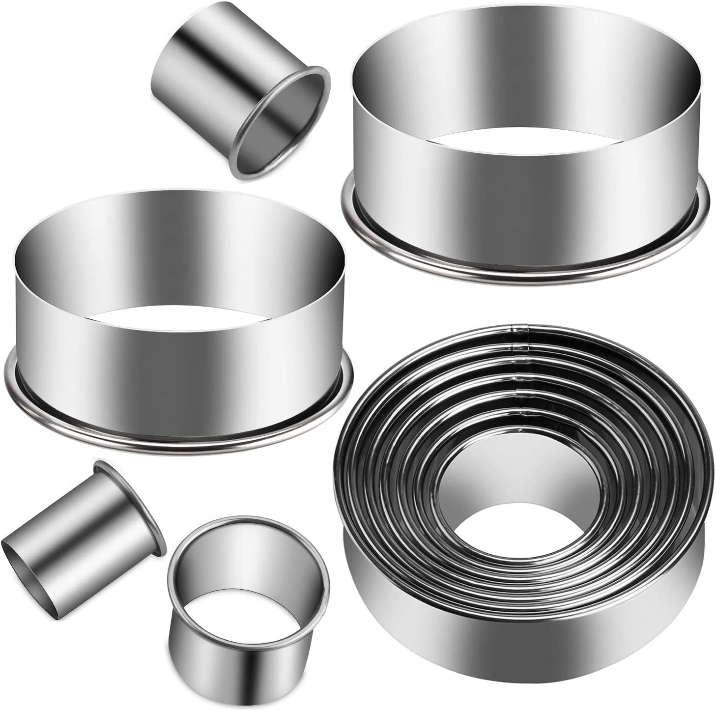 KSPOWWIN 12 Pieces Stainless Steel Cookie Cutter Set Biscuit Plain Edge Round Cutters Metal Ring Baking Molds, Stainless Steel Cookie And Dough Biscuit Muffins Cutters in Graduated Sizes