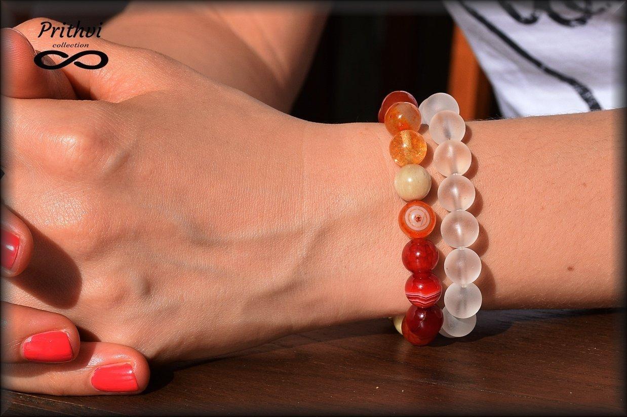 """Dos pulseras - Elemento fuego - Ágata, Citrina, Cornalina, Piedra soleada, Cuarzo con """"efecto esmerilado (10 mm)"""