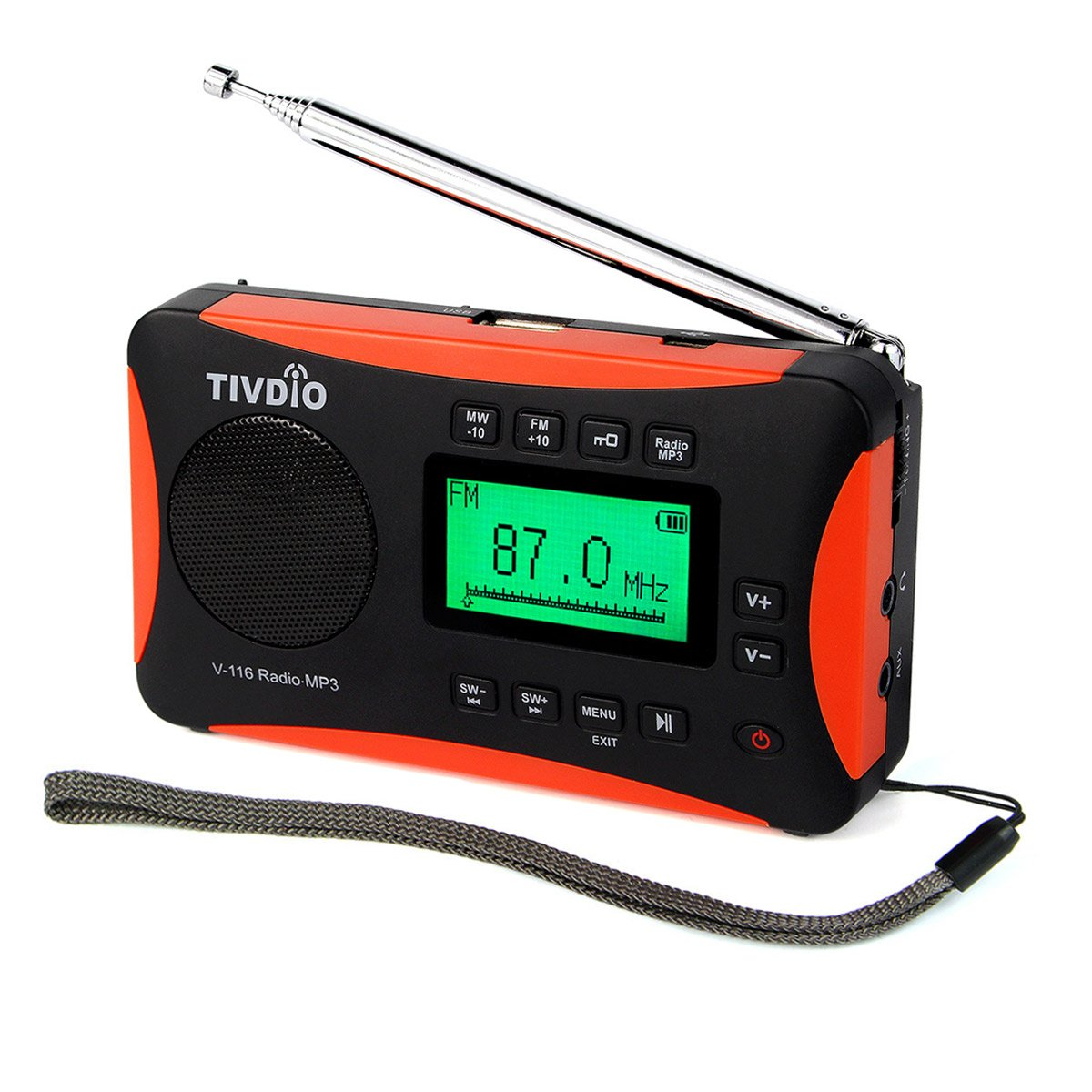 TIVDIO V-116 Portable Shortwave Transistor Radio with AM FM Support SD Card AUX Input MP3 Player Speaker Alarm Clock Sleep Timer(Black and Orange)