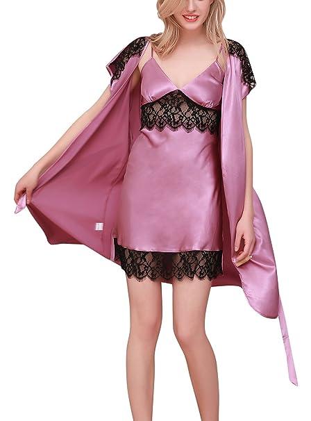 ab880a9407e4 Dolamen Camisón para Mujer con Vestido Kimono Satén, 2-in-1 Mujer Camisones