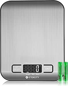 Etekcity Food Scale, Digital Kitchen Grams and Ounces for Weight Loss, Baking, Cooking, Meal Prep & Keto Diet, Small, Stainless Steel