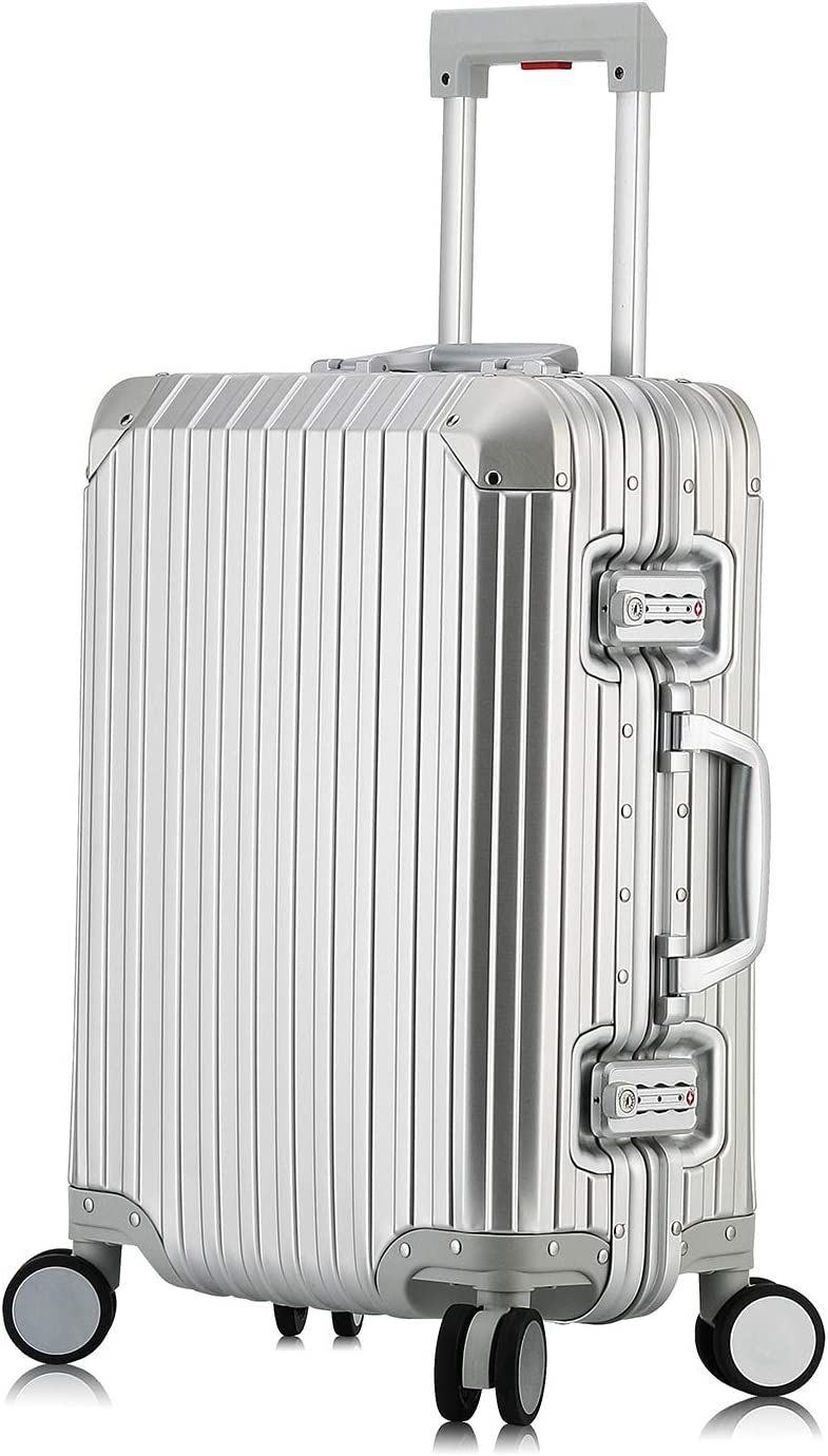 Hardside Luggage, All Aluminum Hard Shell Suitcase With Spinner Wheels Silver, 20 inch