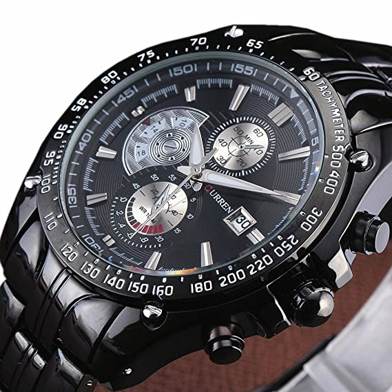 dd87a07333d4f0 Image Unavailable. Image not available for. Color: CURREN Brand New Black Army  Military Quartz Watch Men Stainless Steel