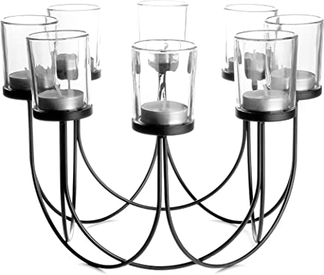 Glass Tea Light Holder Candle Holder Dining Table Decorations Wedding Decor Centrepiece Vintage Home Accessories M W Black Kitchen Dining