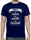 Papy L' Homme Le Mythe. Cadeau pour Super Papi Humour T-Shirt Homme